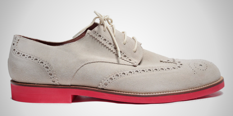 Del Toro Beige Suede Wingtip with Red Sole